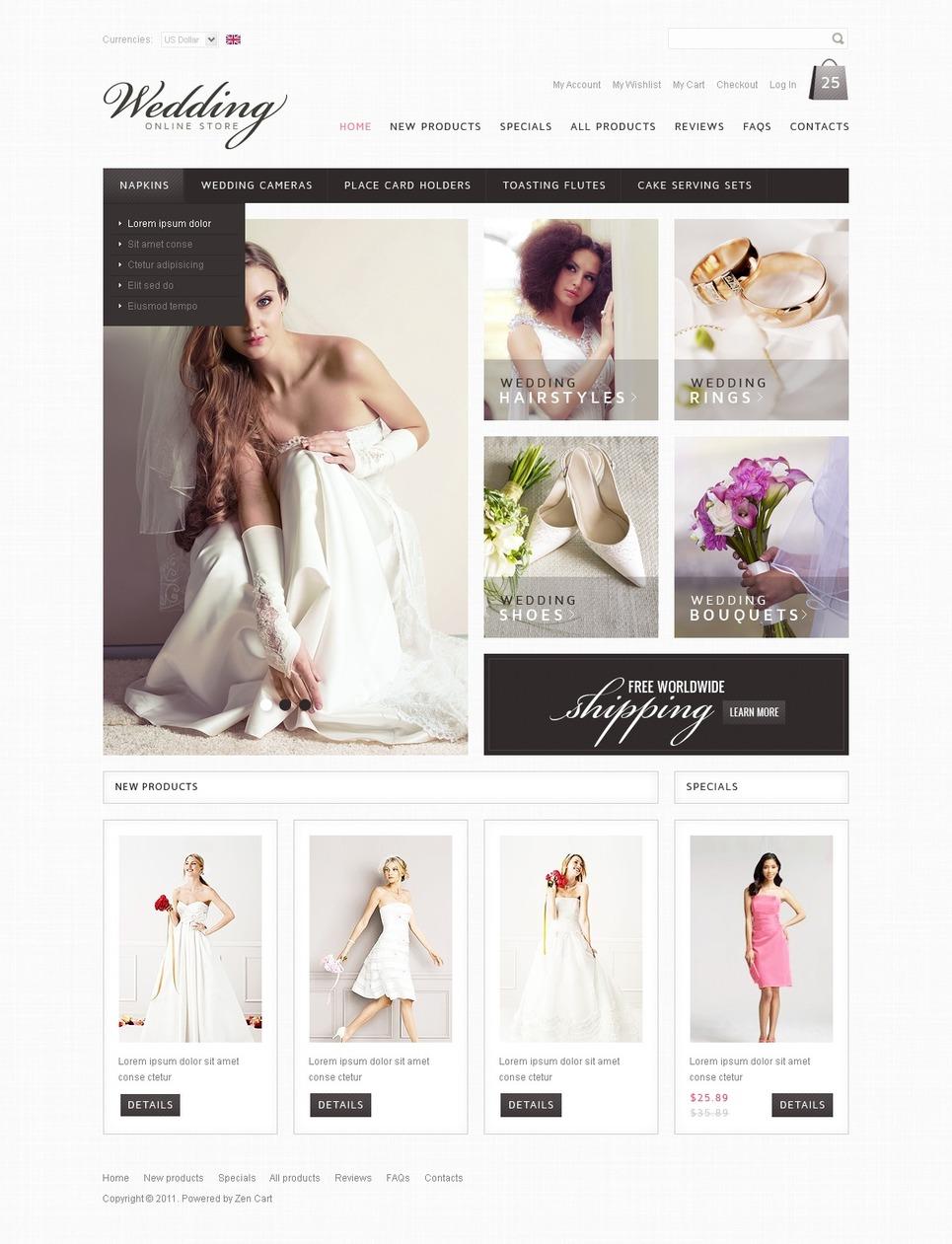 Wedding Shop ZenCart Template New Screenshots BIG