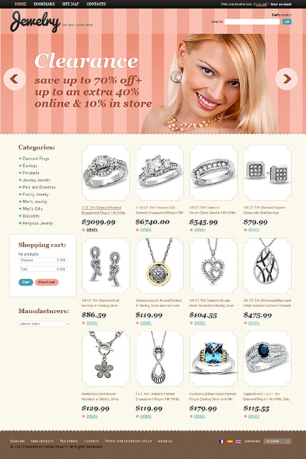 Jewellery online store - Flickering Online Jewellery Store PrestaShop Theme