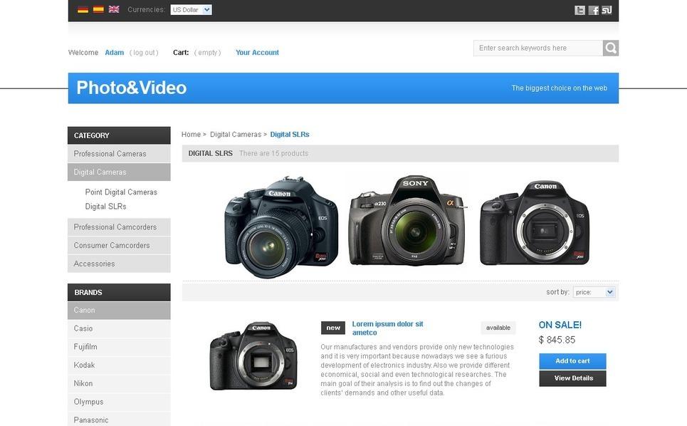 Photo&Video Accessories PrestaShop Theme New Screenshots BIG