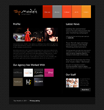 model portfolio website template 35436. Black Bedroom Furniture Sets. Home Design Ideas