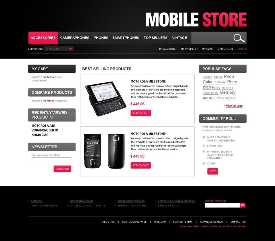 Transcendent Mobile Store Magento Theme