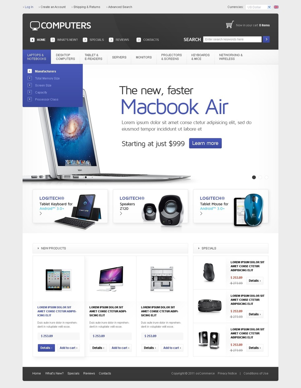 Computers OsCommerce Template New Screenshots BIG