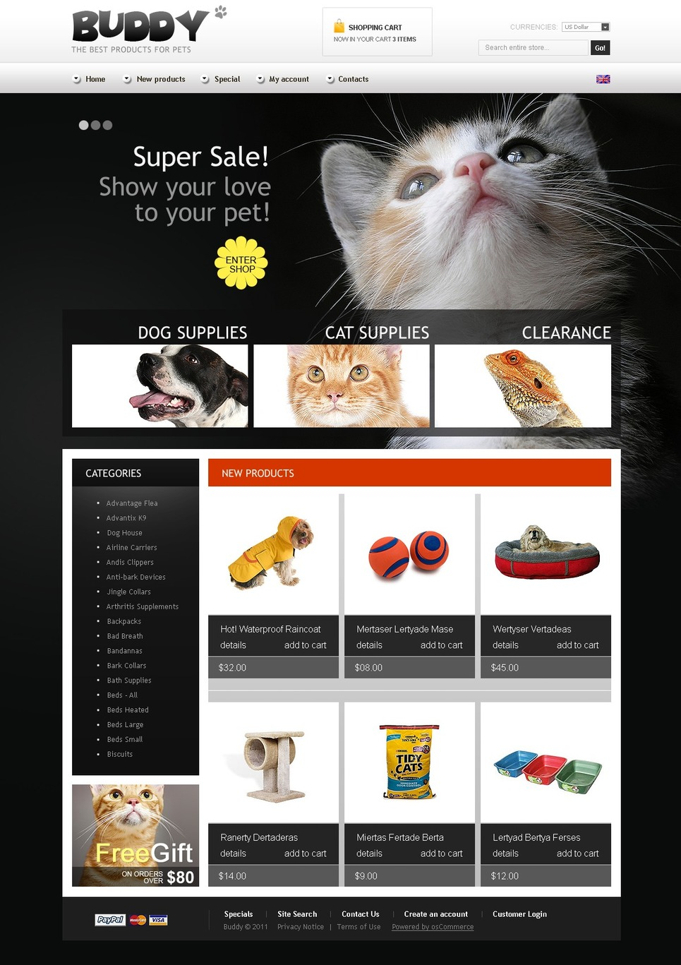 Pet Shop OsCommerce Template New Screenshots BIG