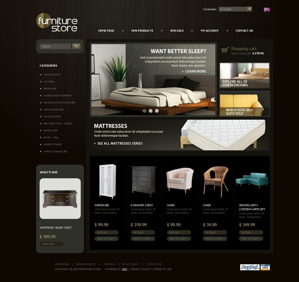 Excellent Black Laminated Furniture OSCommerce Theme