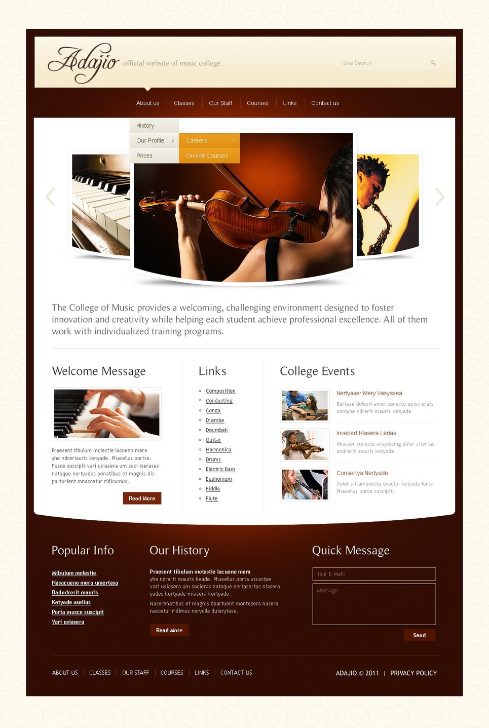 music school website template web design templates website templates download music school. Black Bedroom Furniture Sets. Home Design Ideas
