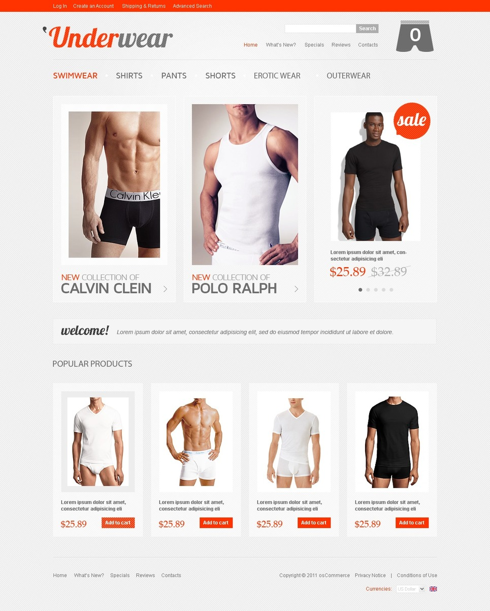 Bright Orange Men's Underwear OsCommerce Template