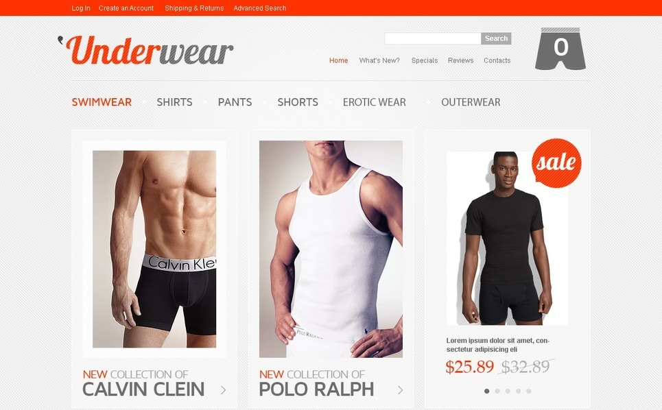 Men's Underwear OsCommerce Template New Screenshots BIG