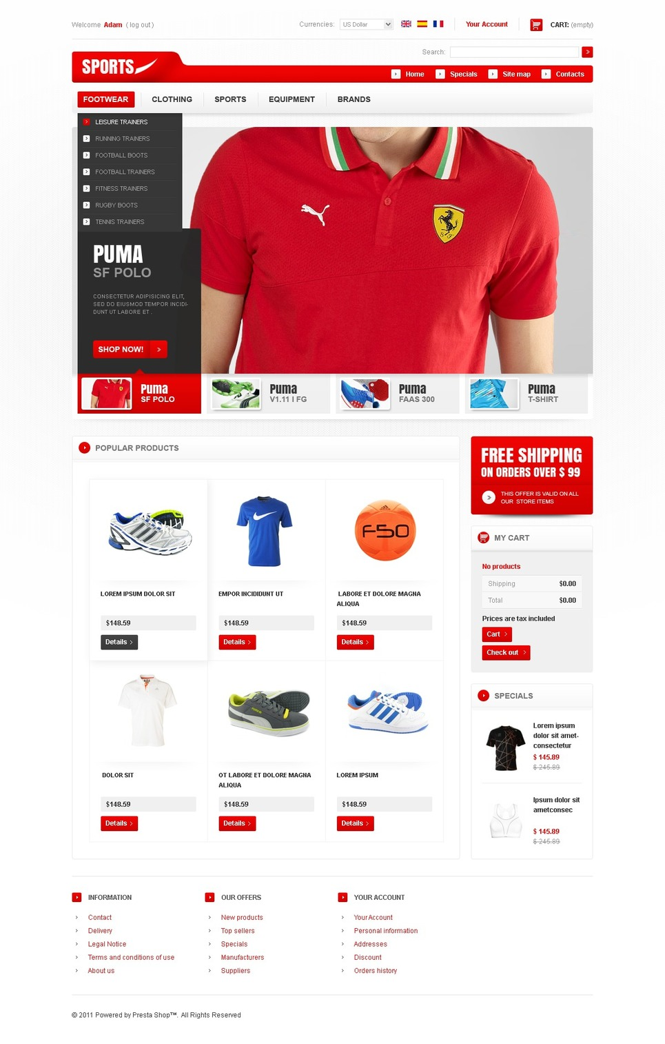 Sports Fashion PrestaShop Theme New Screenshots BIG