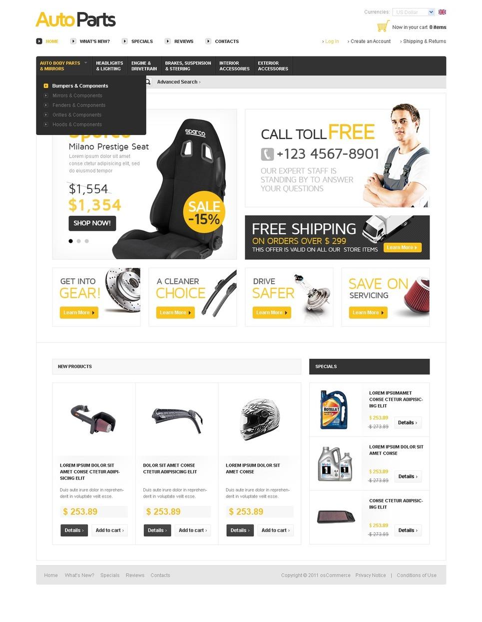 Auto Parts OsCommerce Template New Screenshots BIG