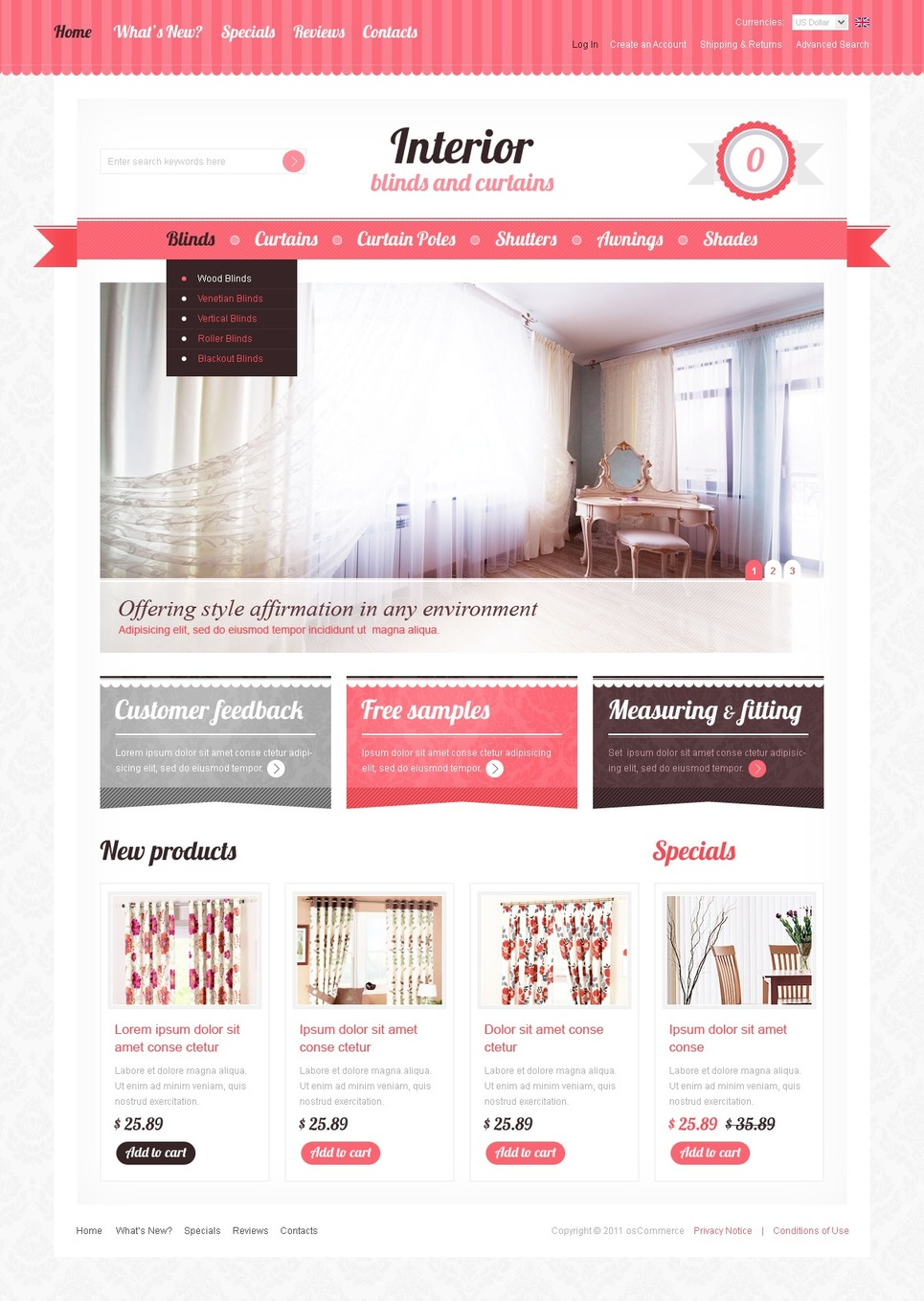 Window Decor OsCommerce Template New Screenshots BIG