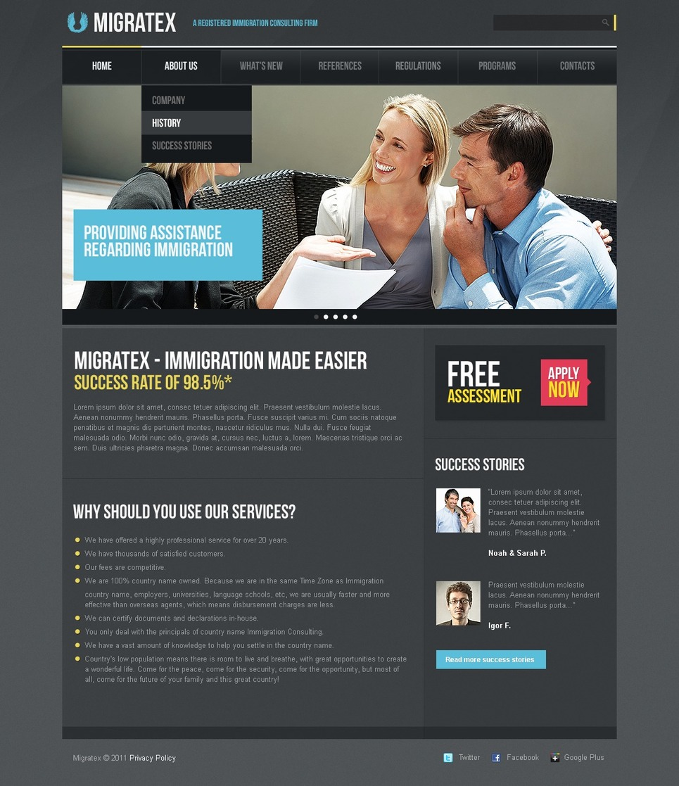Immigration Consulting Website Template New Screenshots BIG