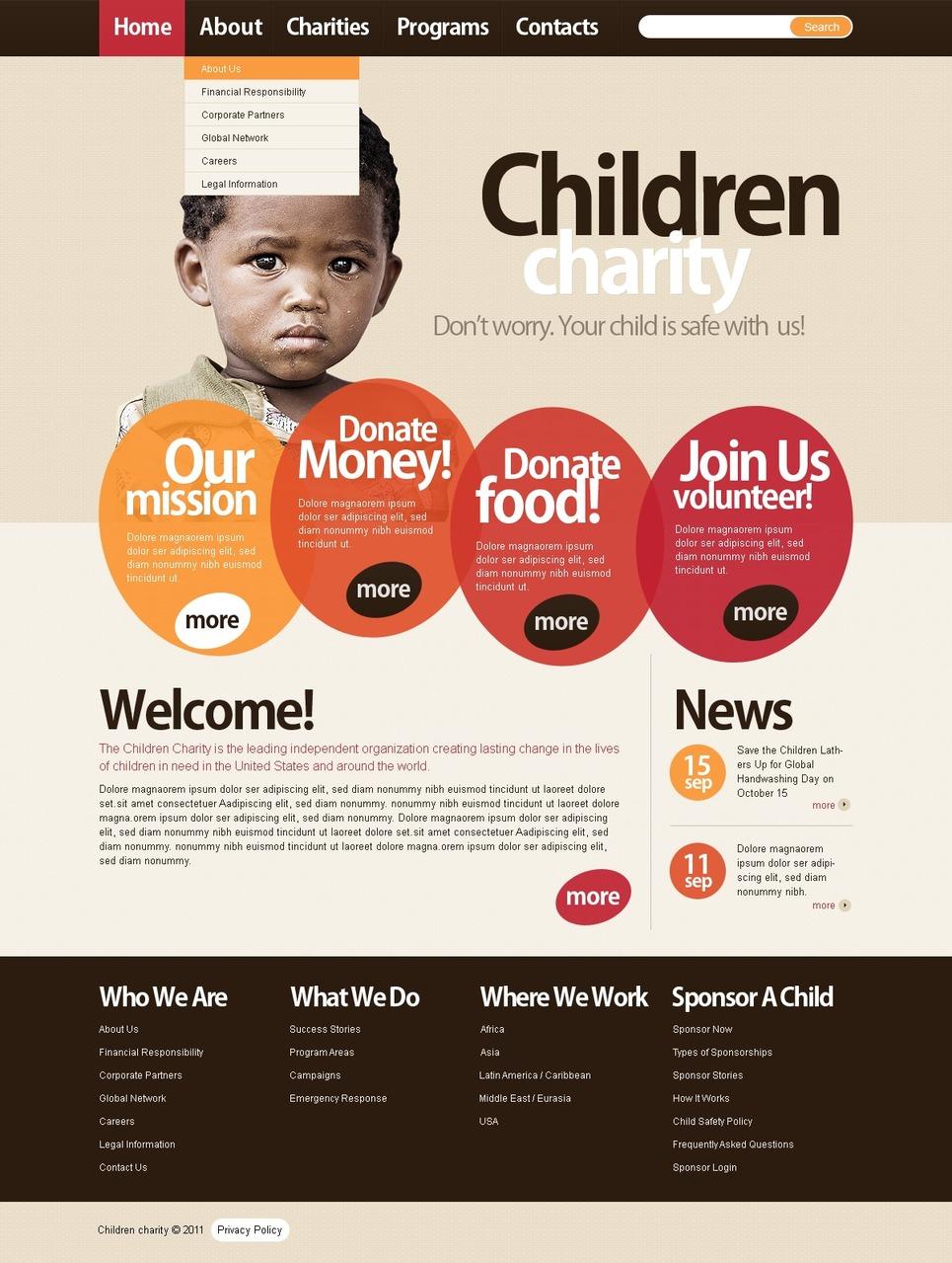 Child Charity Joomla Template New Screenshots BIG
