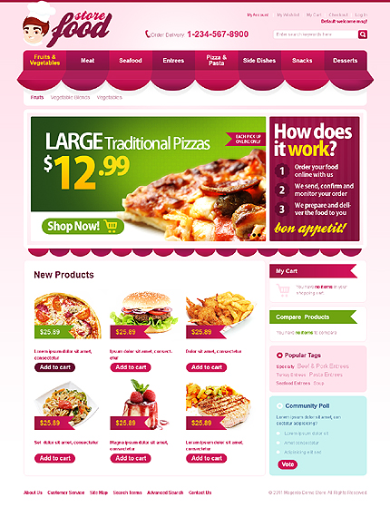 Store food - Relevant Magento Food Store Template