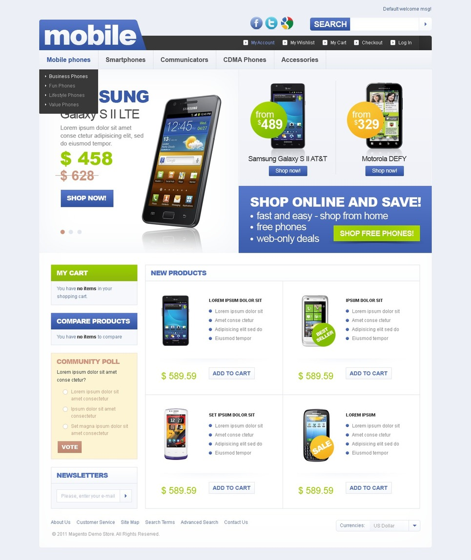 Extra Ordinary Mobile Store Magento Theme