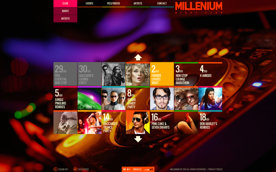 Nightclub Flash Template with a Calendar - image