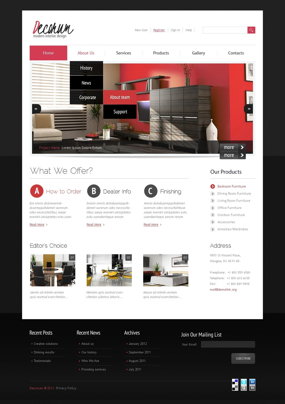 Interior Design Joomla Template New Screenshots BIG