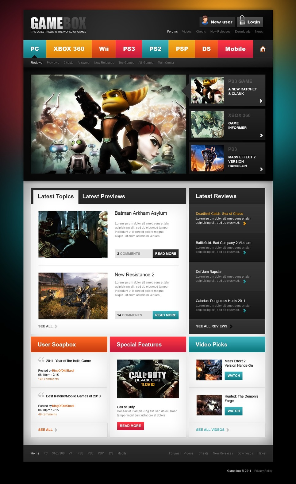 Game Portal Website Template New Screenshots BIG