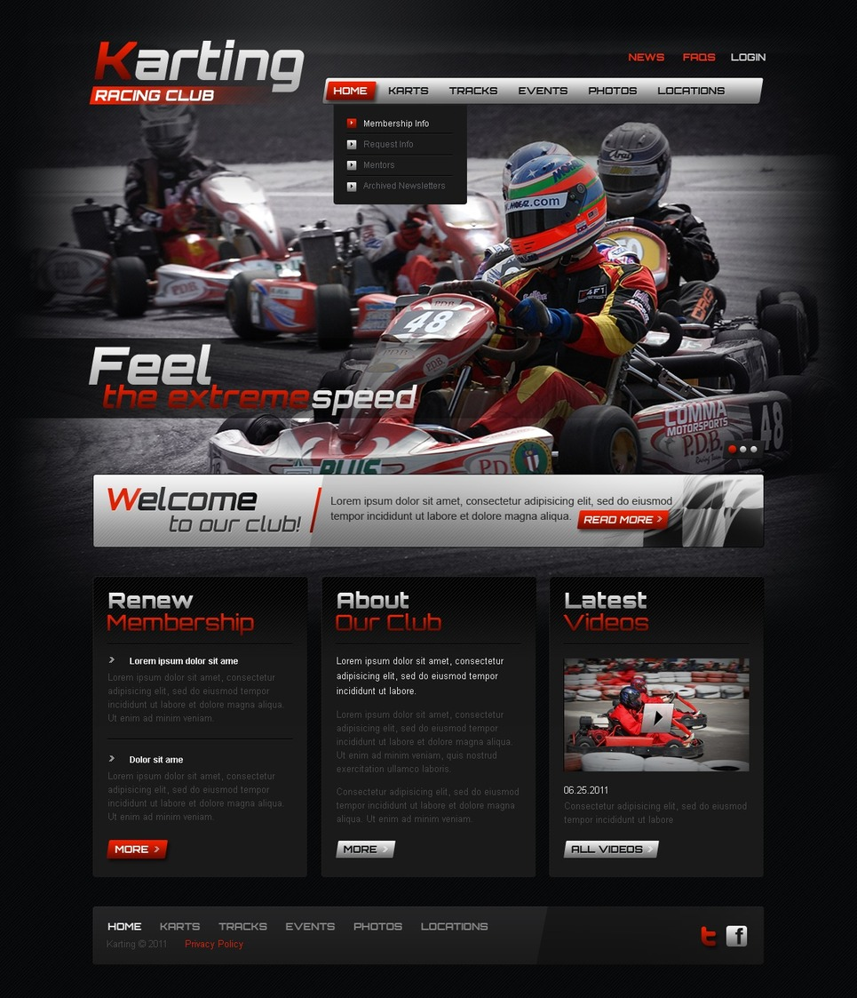 Karting Website Template New Screenshots BIG