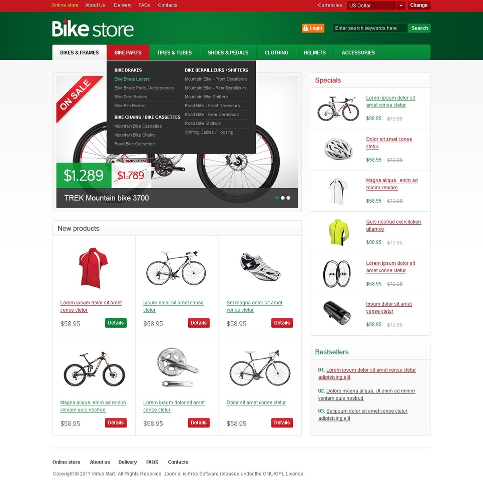 Cycling VirtueMart Template New Screenshots BIG