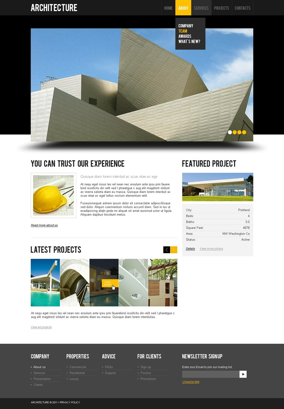Architecture website template 36365 for Architectural websites