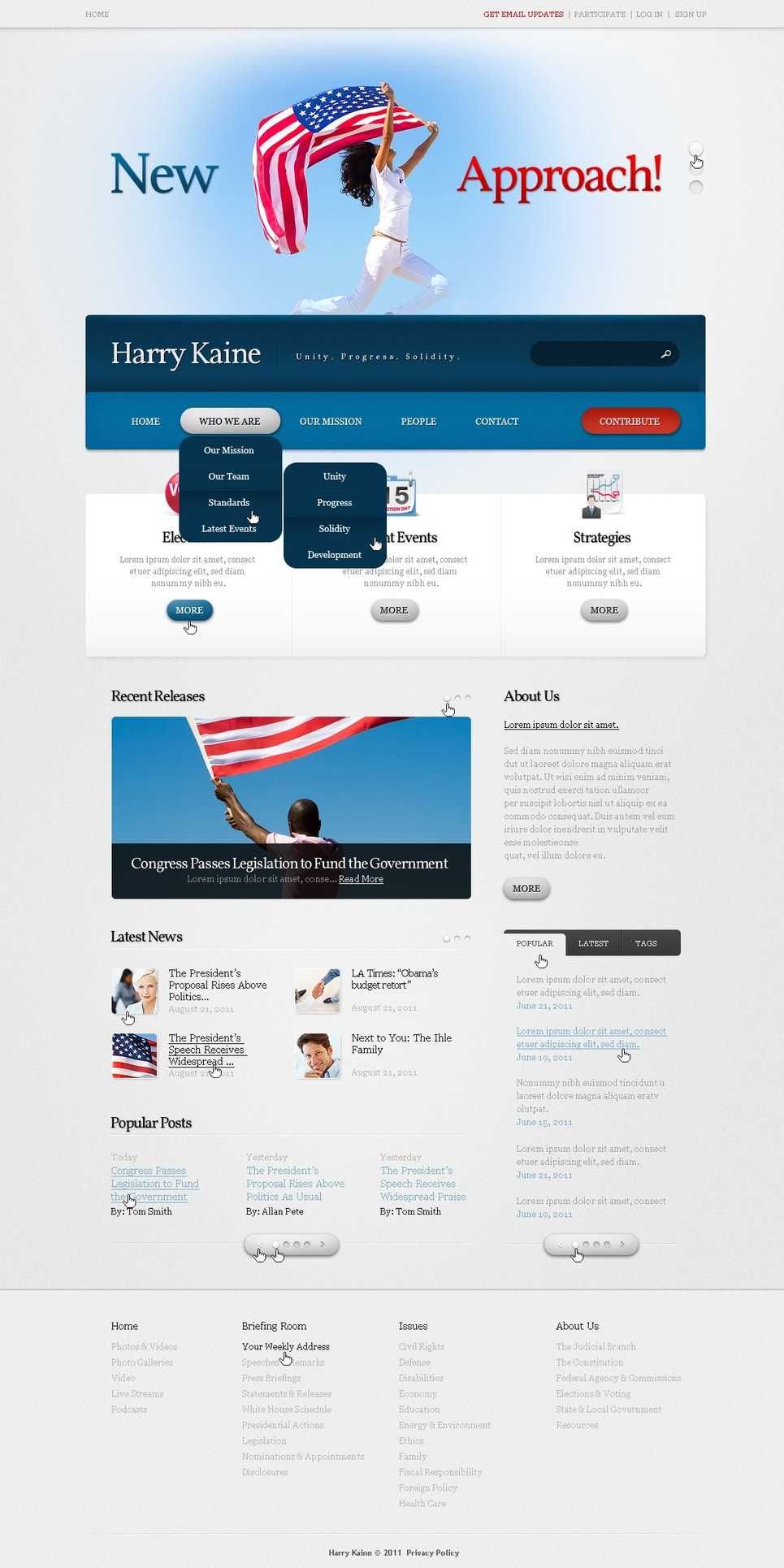 Political candidate website template web design for Claim ppi yourself template