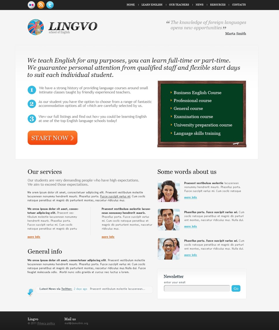 Language School Website Template New Screenshots BIG