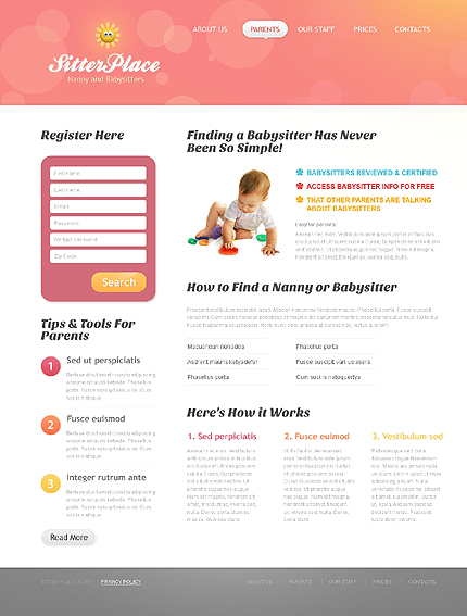 babysitter website template 36600