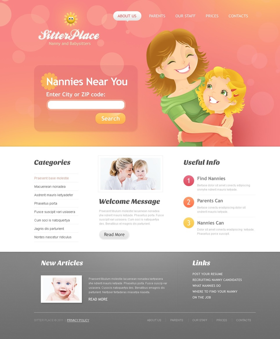 Babysitter Website Template New Screenshots BIG