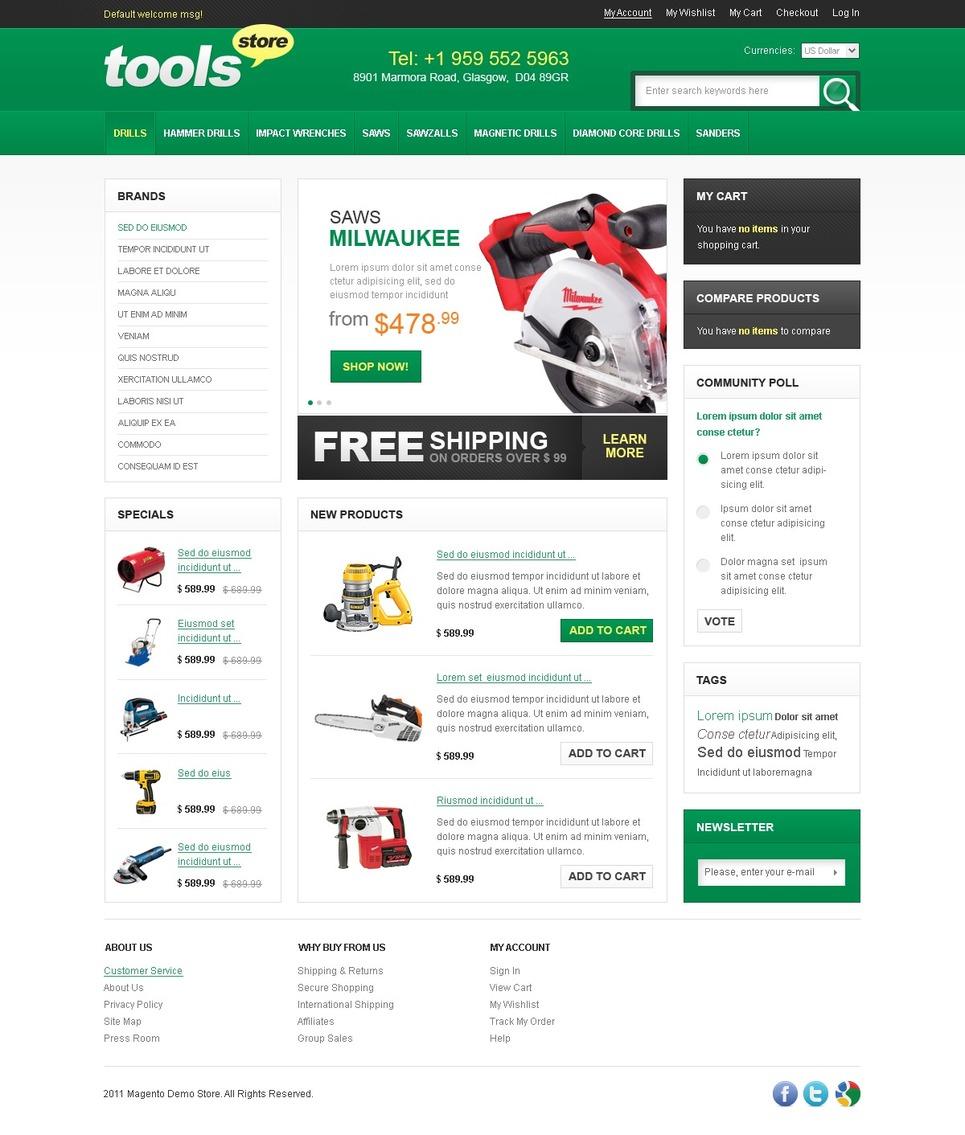Tools & Equipment Magento Theme New Screenshots BIG