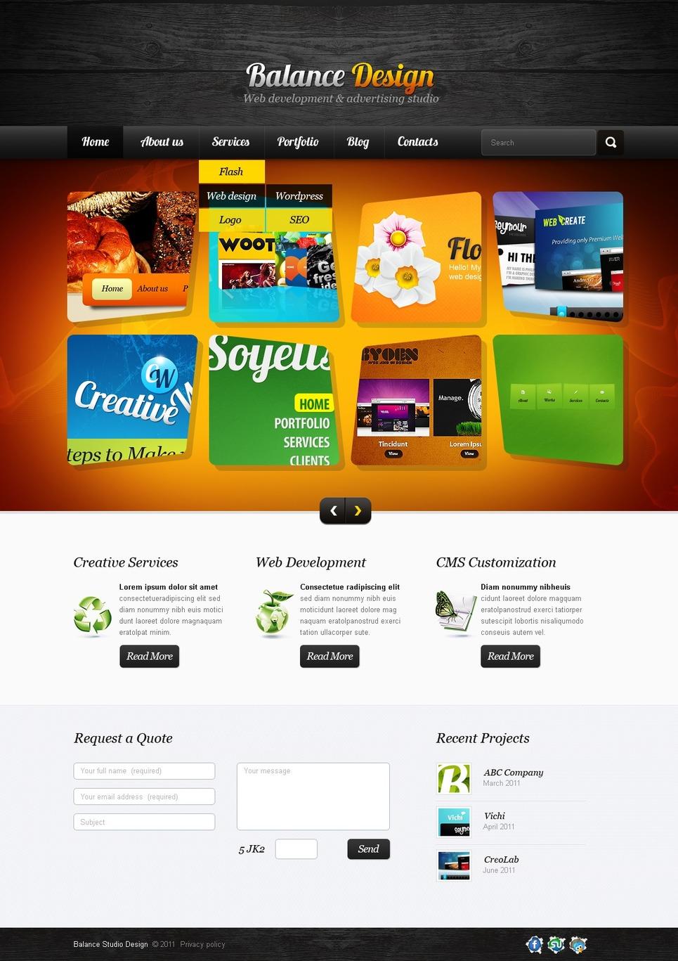 Web Development Facebook Flash Template New Screenshots BIG