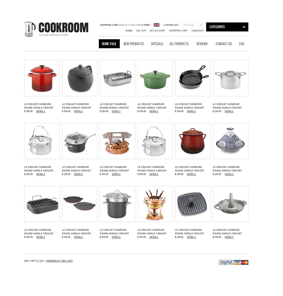 Housewares ZenCart Template New Screenshots BIG