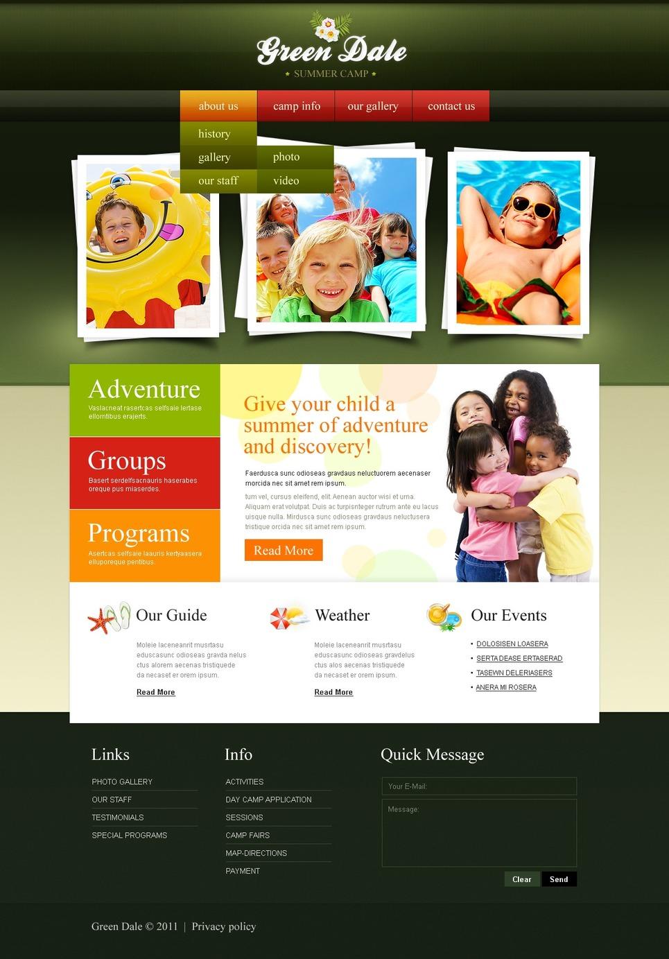 Summer Camp Website Template New Screenshots BIG