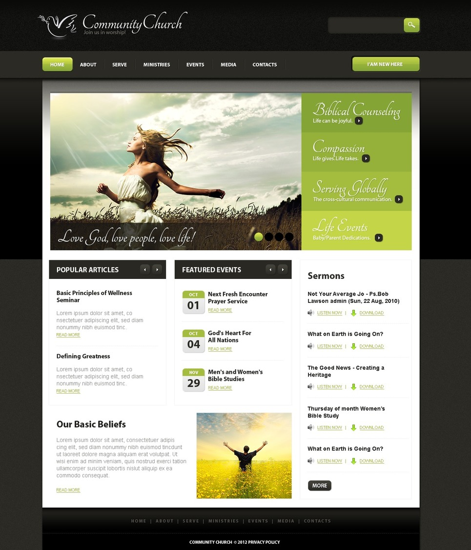 Religious PSD Template New Screenshots BIG