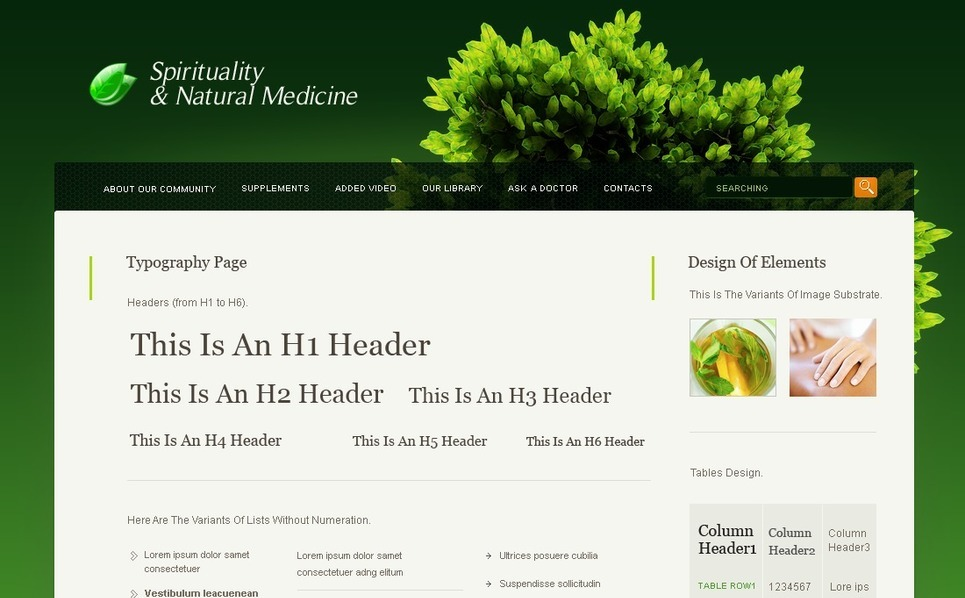 Herbal PSD Template New Screenshots BIG