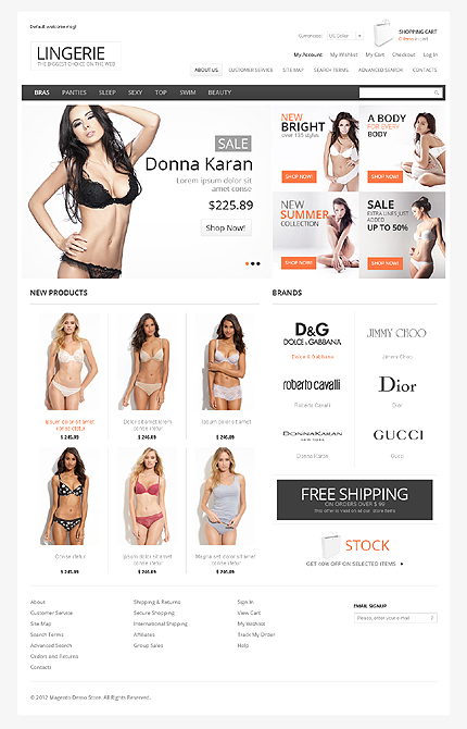 Lingerie - Special Occasion Magento Lingerie Store Theme