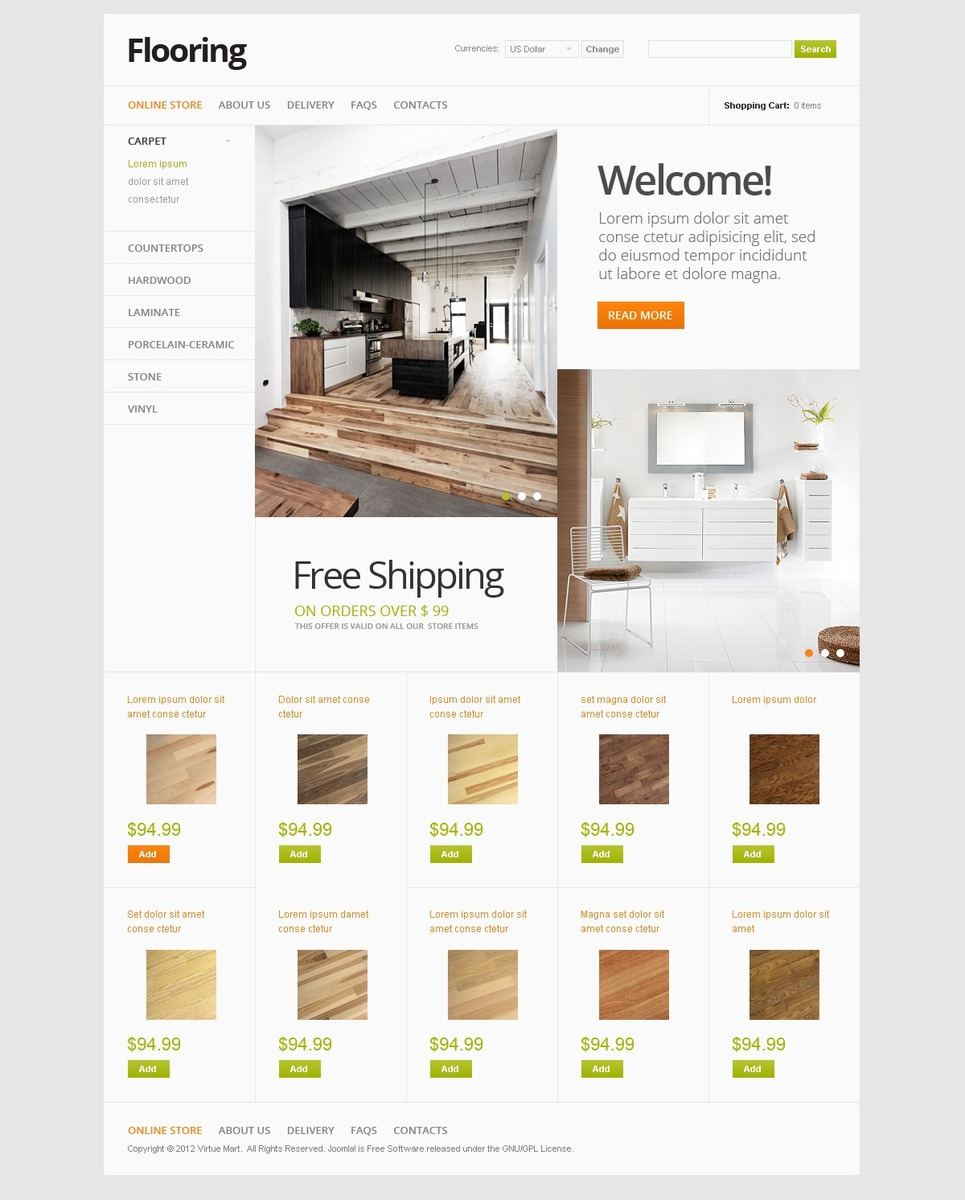 Flooring Store VirtueMart Template New Screenshots BIG
