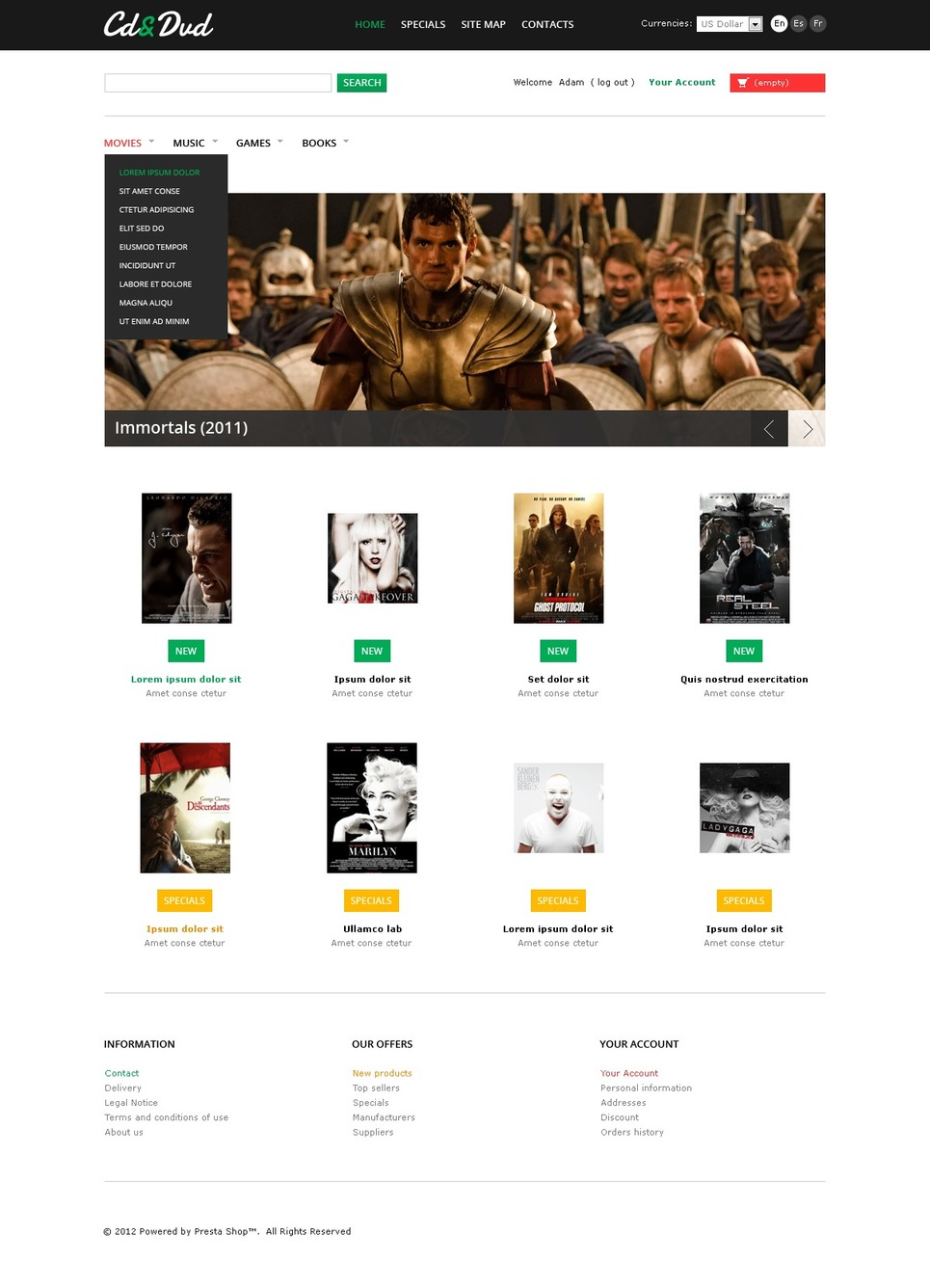 Selling CD & DVD PrestaShop Theme New Screenshots BIG