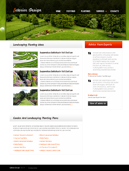 Exterior design website template page 2 photoshop screenshot for Exterior design website templates