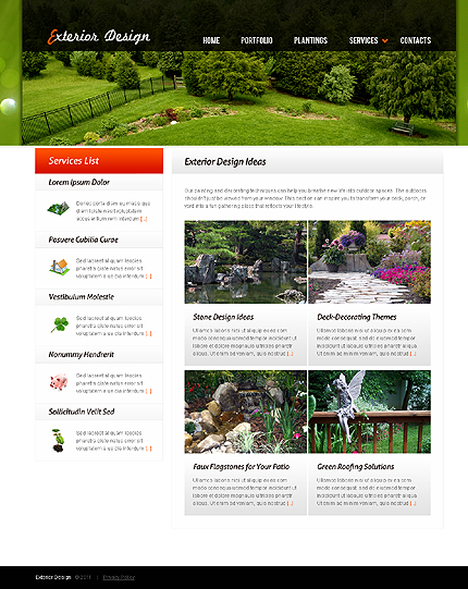 Exterior design website template page 3 photoshop screenshot for Exterior design website templates