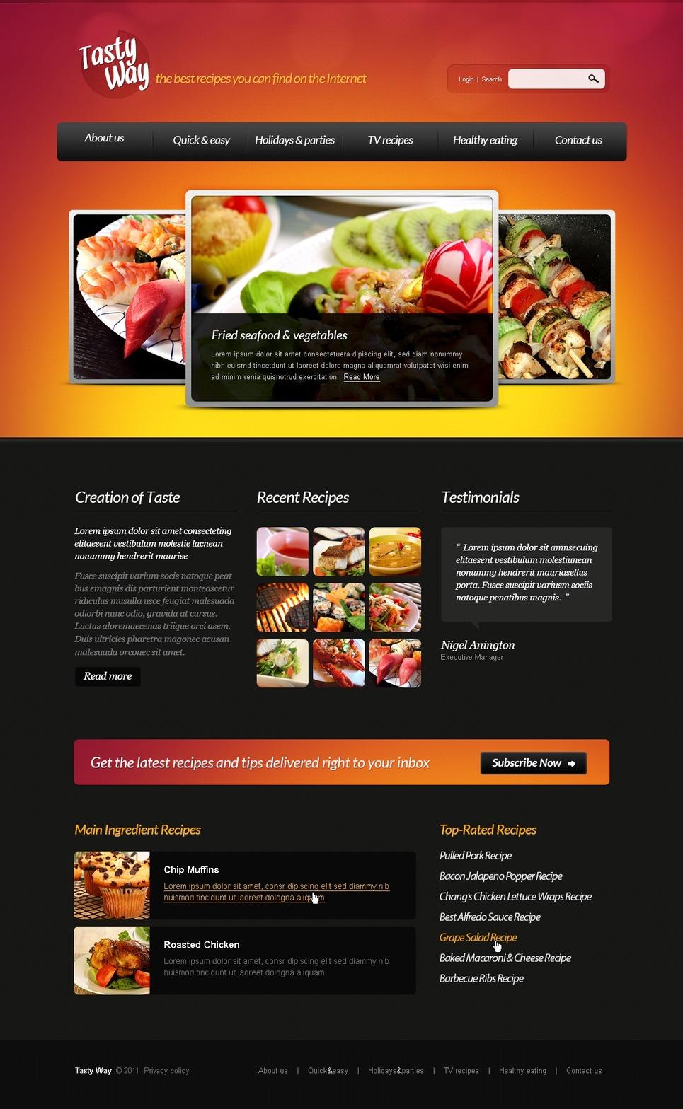 Cooking Joomla Template New Screenshots BIG