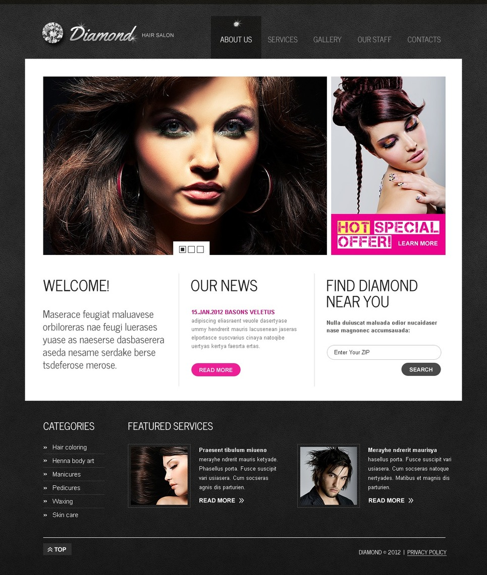 Hair salon website template 37224 for Salon designer online
