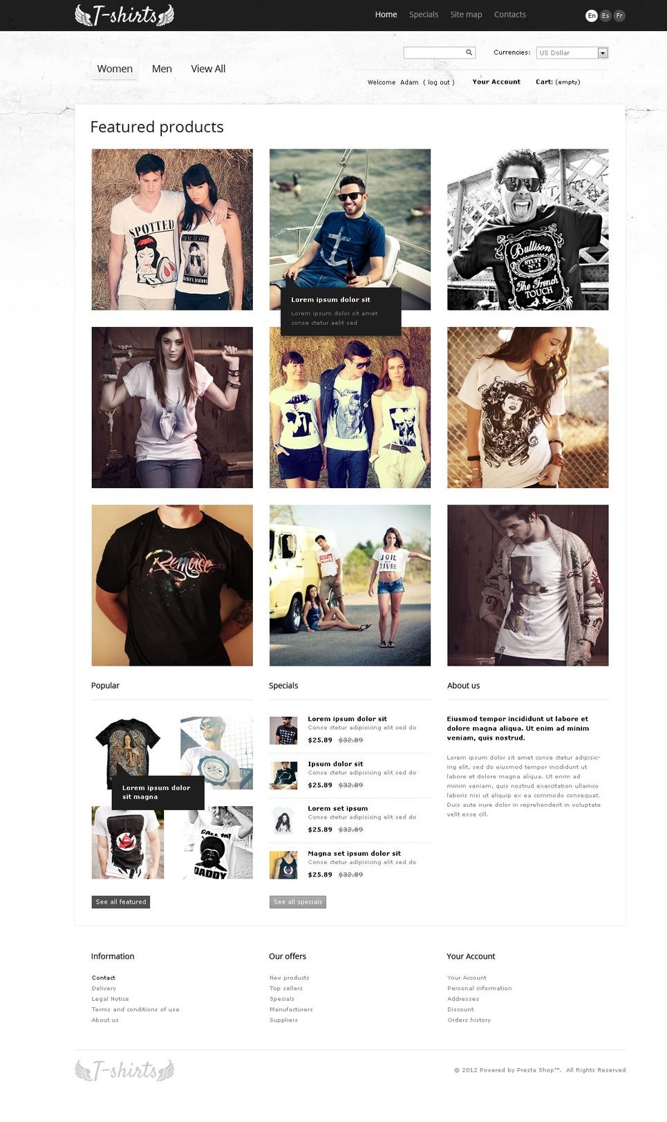 Grungy T-Shirts Online PrestaShop Theme New Screenshots BIG