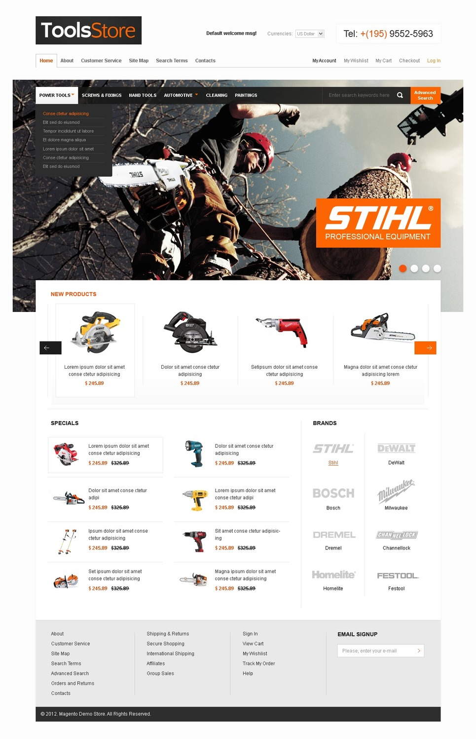 Tools & Equipment Magento Theme New Screenshots BIG