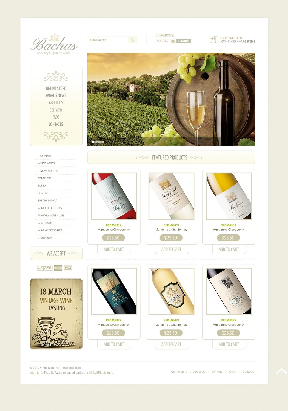 Wine VirtueMart Template New Screenshots BIG