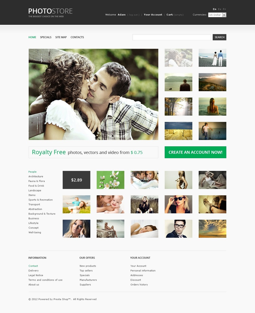 Stock Photo Bank PrestaShop Theme New Screenshots BIG