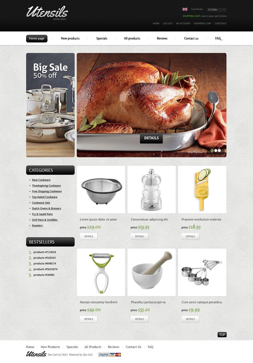 Housewares ZenCart Template New Screenshots BIG