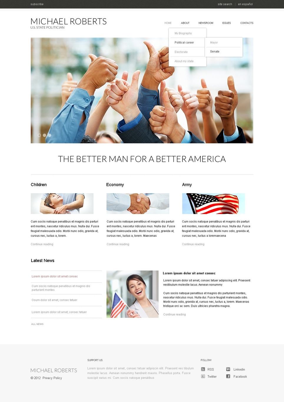 Political Candidate Responsive Website Template 37465