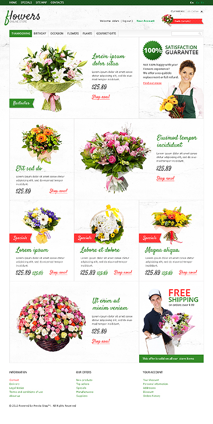 Bunches Of Flowers - Blooming Flower Store PrestaShop Theme