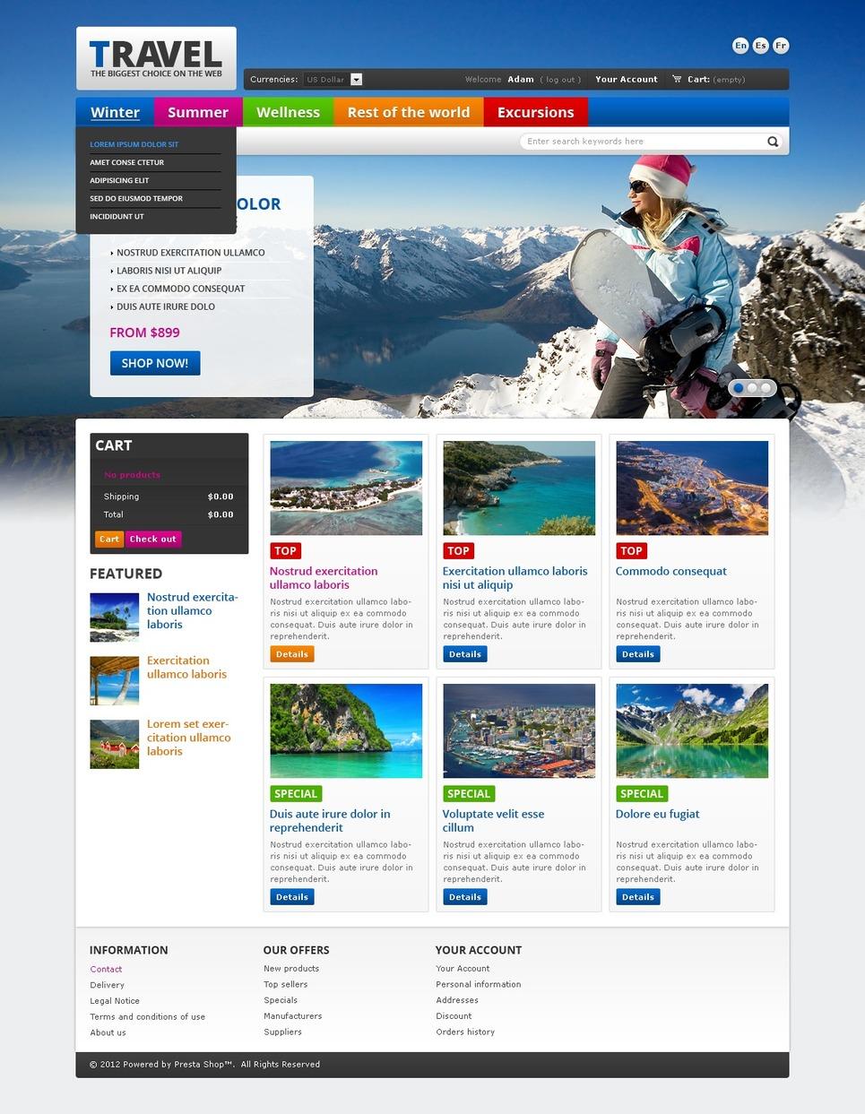 Incredible Travel Portal PrestaShop Theme