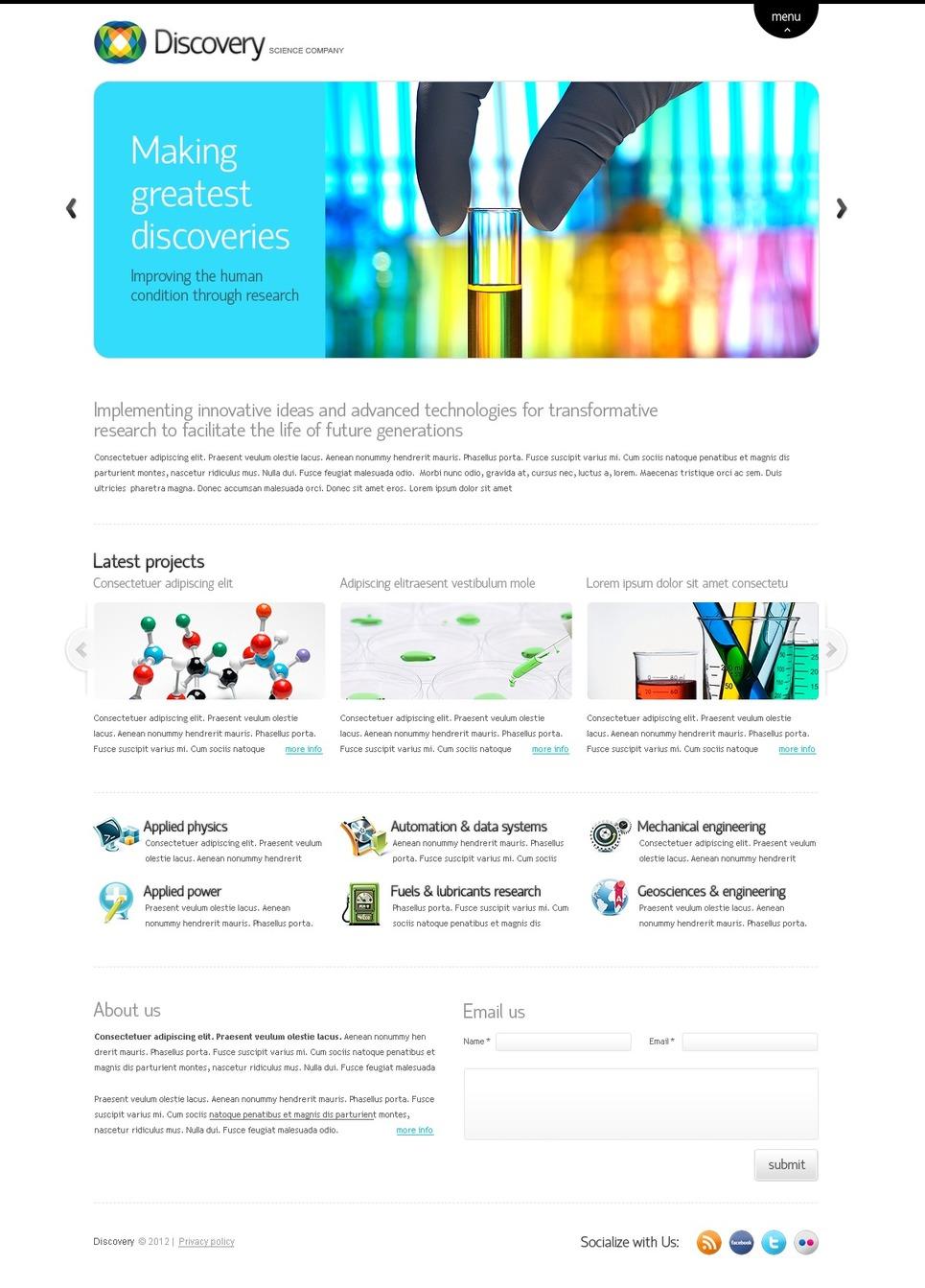 Science Lab Website Template - Web Design Templates, Website ...